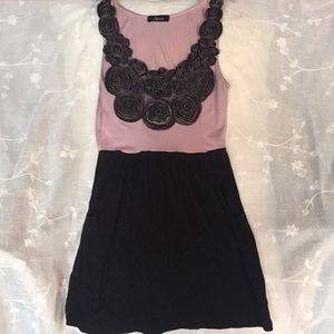 Blush and Black top with Rose Embellishment